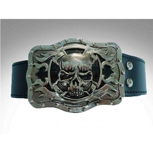 Cinturon de cuero hebilla skull cross flame