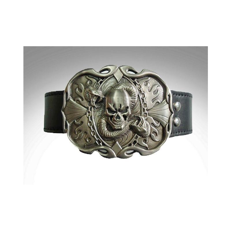 Cinturon de cuero hebilla skull & snake trophy