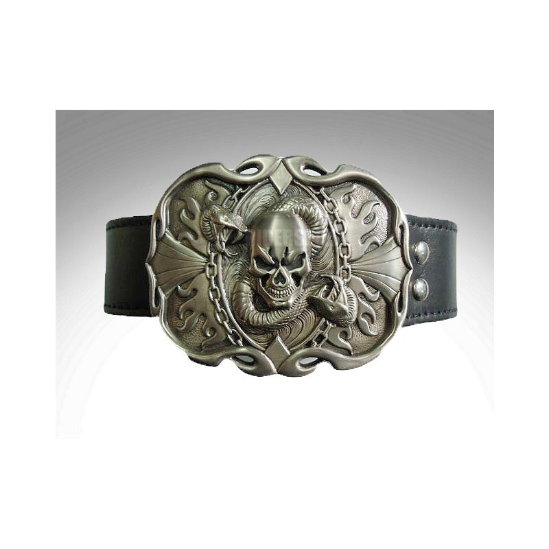 e4225008b4 Cinturon de cuero hebilla skull   snake trophy