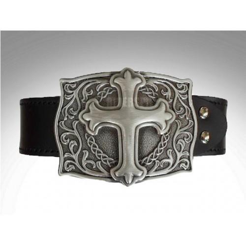 Cinturon de cuero hebilla pewter cross