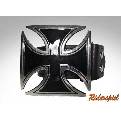 Cinturon de cuero hebilla Cruz de Malta Black